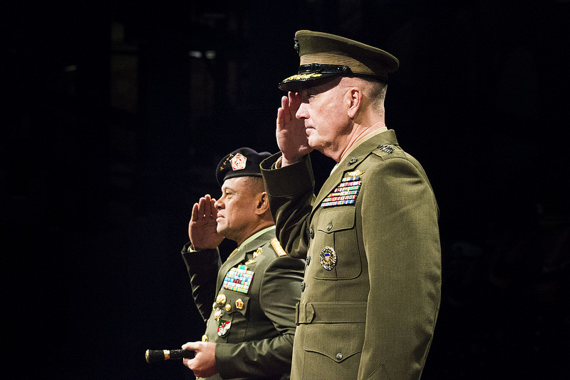 TNI chief Gen. Gatot Nurmantyo, at a welcome ceremony welcoming hosted by US Marine Gen. Joseph F. Dunford Jr., chairman of the Joint Chiefs of Staff, at Conmy Hall on Joint Base Myer-Henderson Hall, Virginia on February 18, 2016. (DoD photo by Army Staff Sgt. Sean K. Harp)